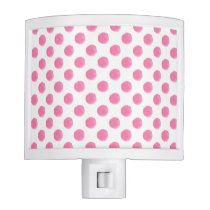 watercolor pink polka dots dotty design night light