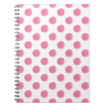 watercolor pink polka dots dotty design notebook