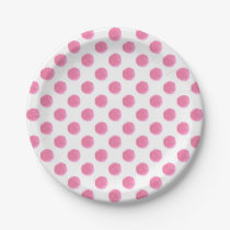 watercolor pink polka dots dotty design paper plate