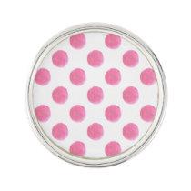 watercolor pink polka dots dotty design pin
