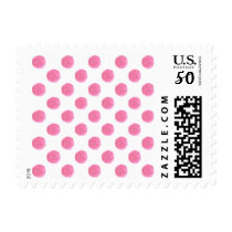 watercolor pink polka dots dotty design postage