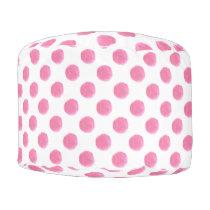 watercolor pink polka dots dotty design pouf