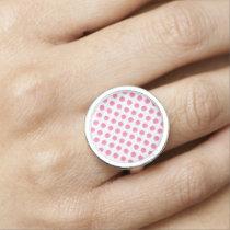 watercolor pink polka dots dotty design ring