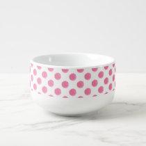 watercolor pink polka dots dotty design soup mug