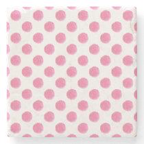 watercolor pink polka dots dotty design stone coaster