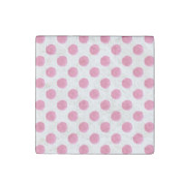 watercolor pink polka dots dotty design stone magnet