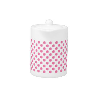 watercolor pink polka dots dotty design teapot