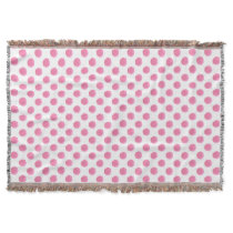 watercolor pink polka dots dotty design throw