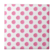 watercolor pink polka dots dotty design tile
