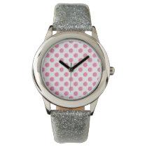watercolor pink polka dots dotty design watch