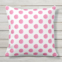 watercolor pink polka dots dotty outdoor pillow
