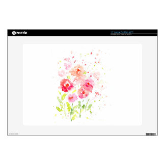 """Watercolor Pink Poppies Decal For 15"""" Laptop"""
