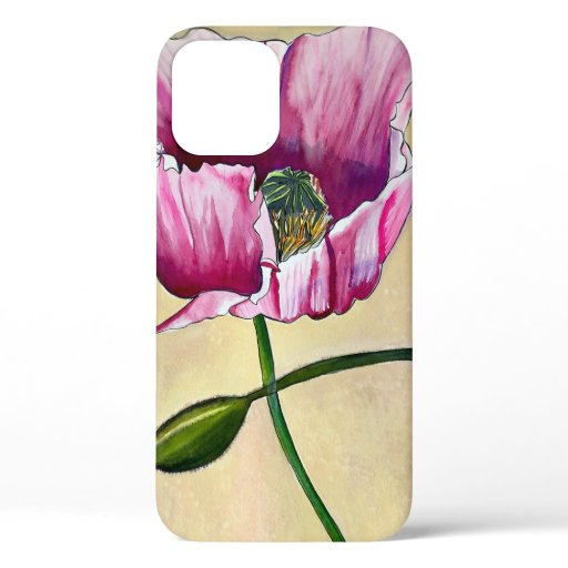 Watercolor pink poppy art flower iPhone 12 case