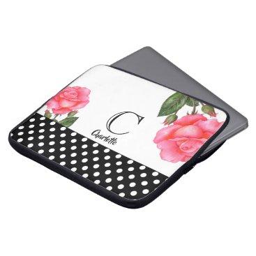Professional Business Watercolor Pink Rose Botanical Floral Art Monogram Laptop Sleeve
