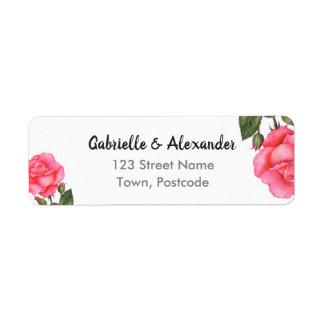 Watercolor Pink Rose Botanical Floral Art Wedding Label