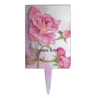 Watercolor pink Rose Cake Picks