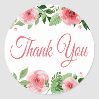 Watercolor Pink Rose Floral Thank You Classic Round Sticker