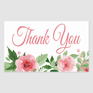 Watercolor Pink Rose Floral Thank You Rectangular Sticker