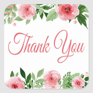 Watercolor Pink Rose Floral Thank You Square Sticker