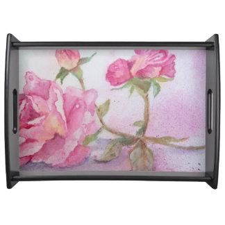 Watercolor pink Rose Food Tray