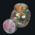 """Watercolor pink Rose Glass Candy Jar<br><div class=""""desc"""">lovely pink watercolor rose</div>"""