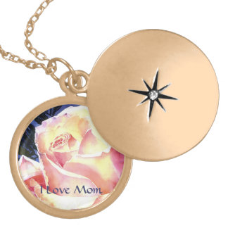 Watercolor Pink Rose Happy Mothers Day Locket Necklace