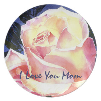 Watercolor Pink Rose Happy Mothers Day Dinner Plates