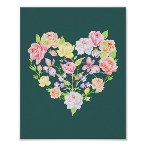 Watercolor Pink Rose Heart Poster