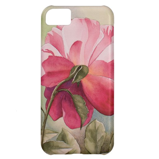 Watercolor pink rose iPhone 5C case