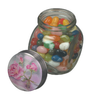Watercolor pink Rose Jelly Belly Candy Jars