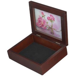 Watercolor pink Rose Keepsake Box