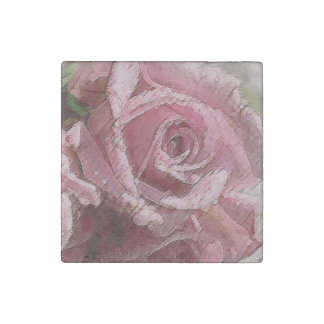 Watercolor Pink Rose - Marble Magnet Stone Magnet