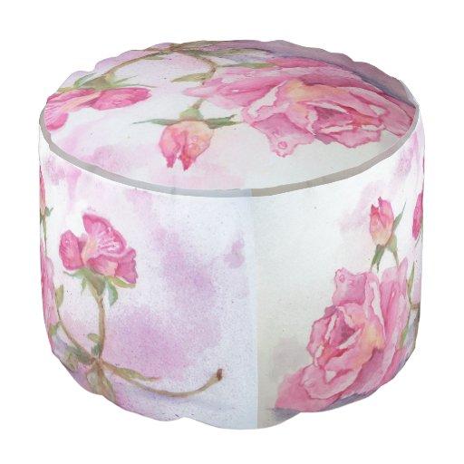 watercolor pink rose round pouf zazzle. Black Bedroom Furniture Sets. Home Design Ideas