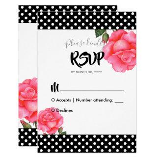 Watercolor Pink Rose Wedding Response Reply RSVP Card