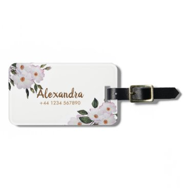 Professional Business Watercolor Pink Roses 'Ballerina' Floral Art Luggage Tag