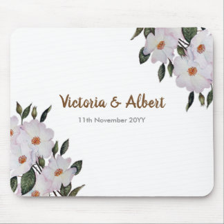 Watercolor Pink Roses Ballerina Floral Art Wedding Mouse Pad