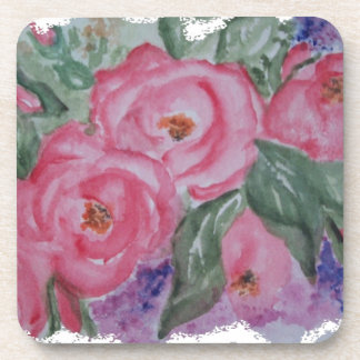WATERCOLOR PINK ROSES BEVERAGE COASTER