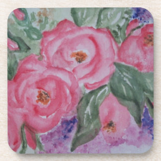 Watercolor pink roses drink coaster
