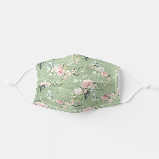 Watercolor Pink Roses Eucalyptus Greenery on Green Adult Cloth Face Mask