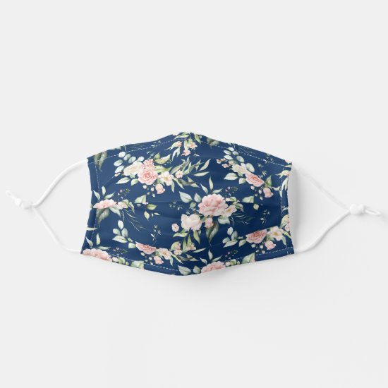 Watercolor Pink Roses Eucalyptus Greenery on Navy Adult Cloth Face Mask