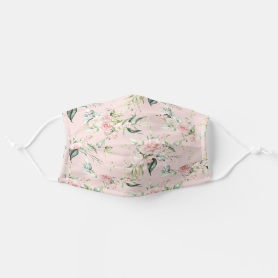 Watercolor Pink Roses Eucalyptus Greenery on Pink Adult Cloth Face Mask