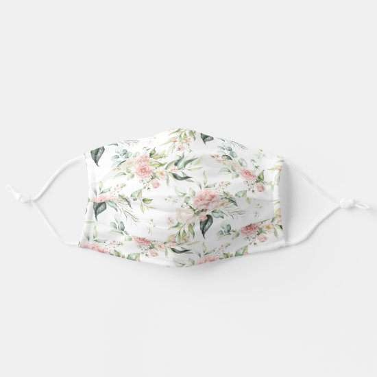 Watercolor Pink Roses Eucalyptus Greenery on White Adult Cloth Face Mask