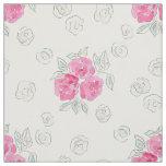 Watercolor . Pink roses . Fabric