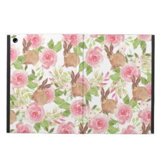 Watercolor pink roses floral brown bunny rabbit iPad air case