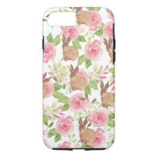 Watercolor pink roses floral brown bunny rabbit iPhone 7 case