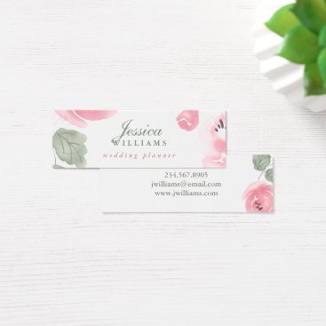 Professional Business Watercolor Pink Roses Floral Mini Business Card