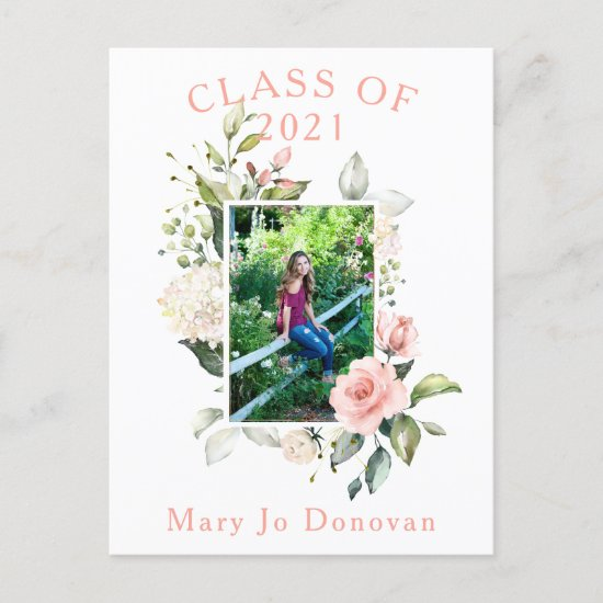 Watercolor Pink Roses Frame Two Photo Graduation Announcement Postcard