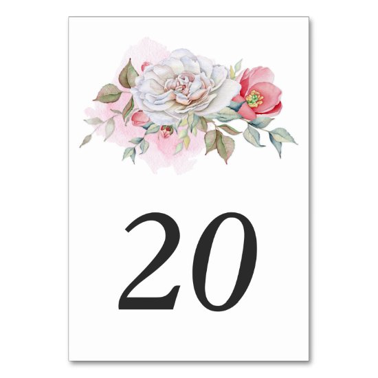 Watercolor Pink Roses Poppies Greenery | Table Number