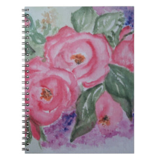 Watercolor pink roses spiral notebook