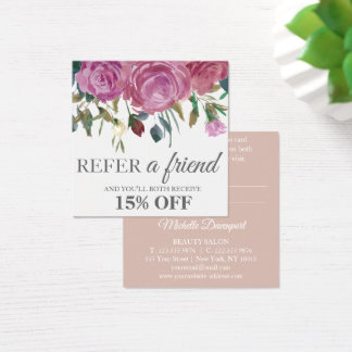 Watercolor pink roses square elegant referral card